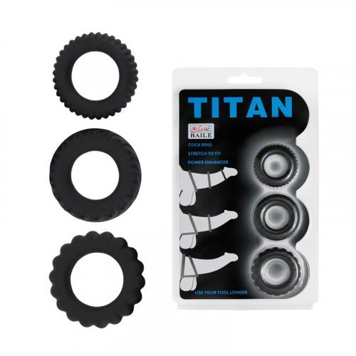 Набор эрекционных колец Titan, черный